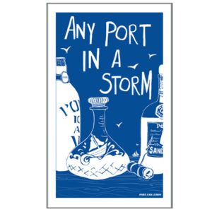 any port in a storm tea towel by port and lemon