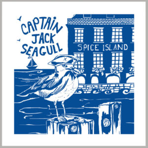 captain jack seagull greetings card by tracy evans for port and lemon