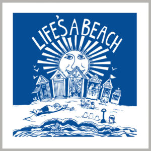life's a beach greetings card by kate cooke for port and lemon