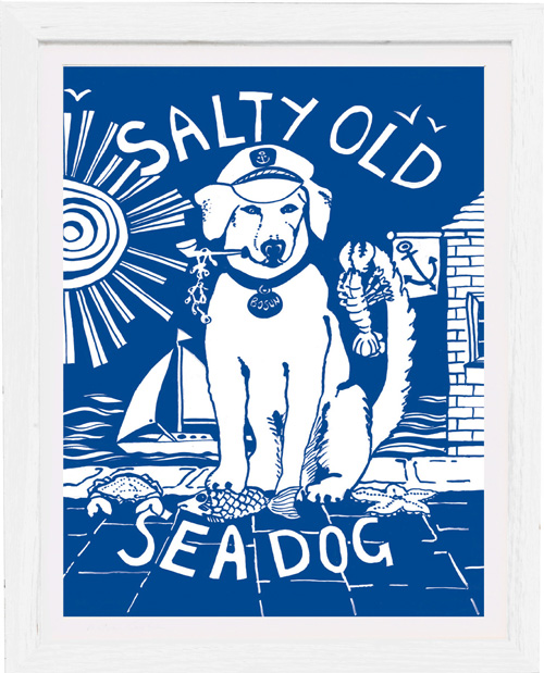 art print salty old sea dog by kate cooke for port and lemon