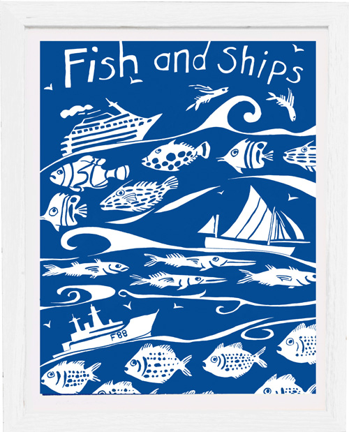art print fish and ships by tracy evans for port and lemon