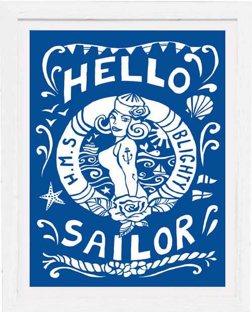 art print hello sailor by kate cooke for port and lemon