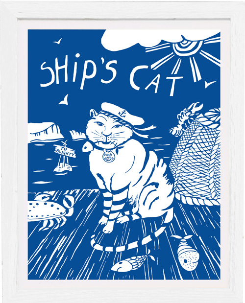 art print ships cat by tracy evans for port and lemon
