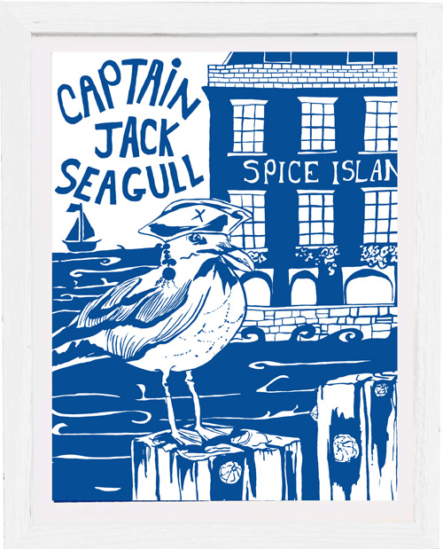art print captain jack seagull by tracy evans for port and lemon