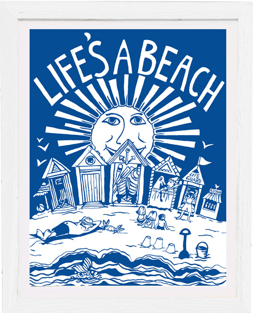 Art Print life's a beach by kate cooke for port and lemon