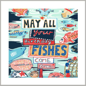 birthday fishes greetings card by kate cooke for port and lemon