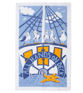 All hands on deck tea towel