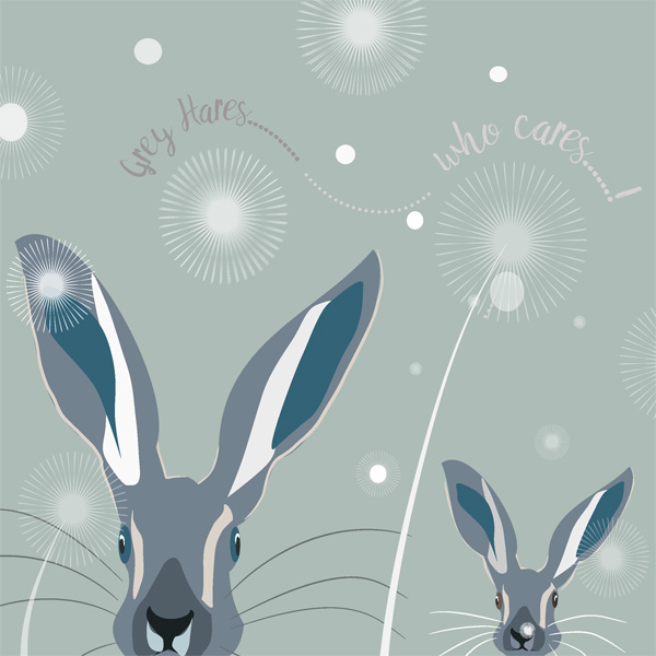 grey hares who cares greetings card by christian dakin brown for port and lemon